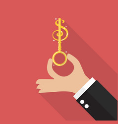 Hand hold money key vector