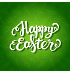 Happy easter lettering on floral green pattern vector