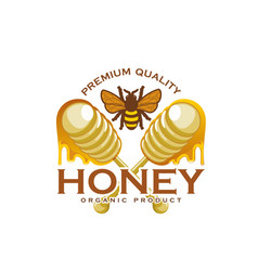 Honey bee and dipping stick product icon vector