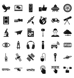 Internet technology icons set simple style vector