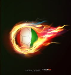 Ivory flag with flying soccer ball on fire vector