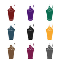 Milkshake with cherry on the top icon in black vector
