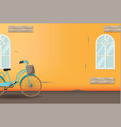 orange vintage bicycle style background vector image vector image