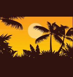 Palm scenery at sunset silhouette style vector