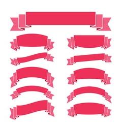 Pink ribbon banners set vintage vector