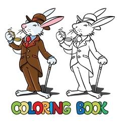 Rabbit in the costume of a gentleman coloring book vector