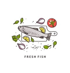 Rainbow trout fresh fish vector