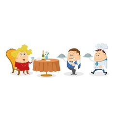 Restaurant woman waiter and cook vector