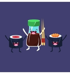 Rolls and soy sauce cartoon friends vector