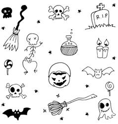 Scary halloween doodle element vector
