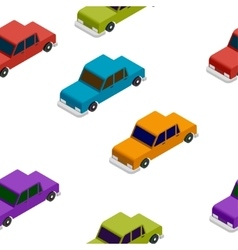 Seamless car isometric pattern vector