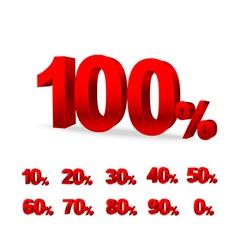 Set of red 3d figures digi percent vector image