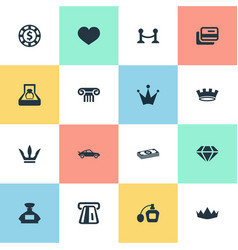 Set of simple luxury icons vector