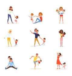 Set of tired parents with children exhausted moms vector