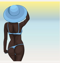 Sexy young african girl in swimsuit and sun hat vector