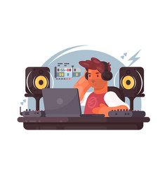 sound designer on workplace vector image vector image