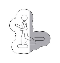 Sticker contour pictogram going down stairs vector