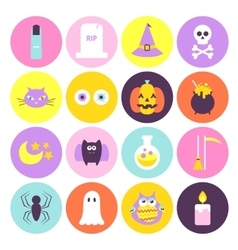 Trendy Halloween Circle Icons Set vector image vector image