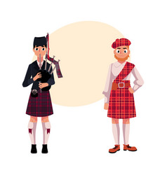two scottish men in national clothes tartan beret vector image vector image