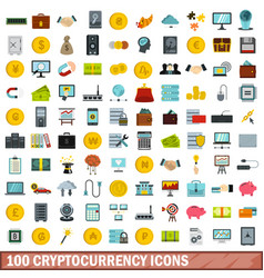 100 cryptocurrency icons set flat style vector