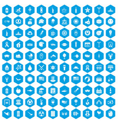 100 summer holidays icons set blue vector