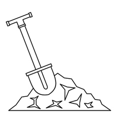 Shovel in coal icon outline style vector