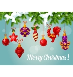 Christmas ball on pine branch greeting card vector