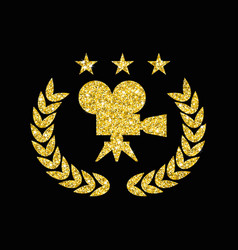 golden film award on black vector image
