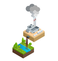 isometric pollution of the environment concept vector image