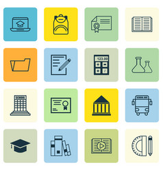 Set of 16 school icons includes chemical diploma vector