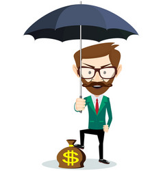 a businessman with beard standing holding umbrella vector image