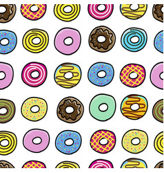 donuts sweet pattern seamless vector image