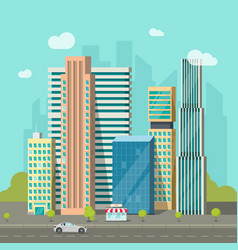 City buildings near road cityscape modern vector