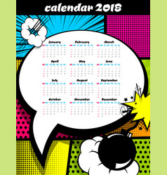 2018 calendar pop art template vector