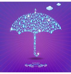 Umbrella with drops vector