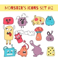Doodle monsters icons in bright colors vector