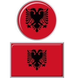 Albanian round and square icon flag vector
