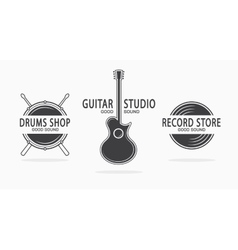 Set of vintage musical instrument logos vector