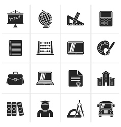 Black school and education icons vector