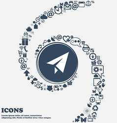 Paper airplane icon sign in the center Around the vector image