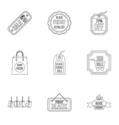 Black friday icons set outline style vector image vector image
