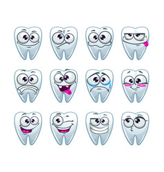 cartoon teeth characters with different emotions vector image vector image