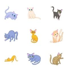 Cat family icons set cartoon style vector