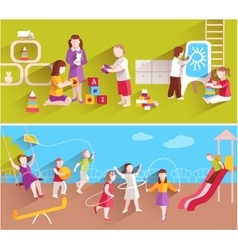 Children In Kindergarten vector image vector image