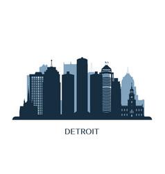 Detroit skyline monochrome silhouette vector