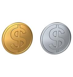Dollar coin vector image