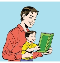 Father and son reading a book vector