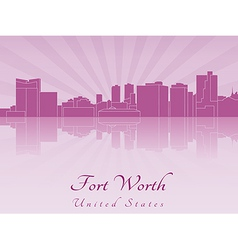 Fort Worth skyline in purple radiant orchid vector image