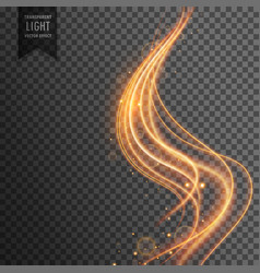golden wave transparent light effect background vector image vector image