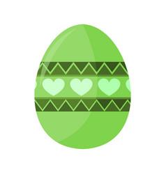 Green love shape pattern easter egg vector